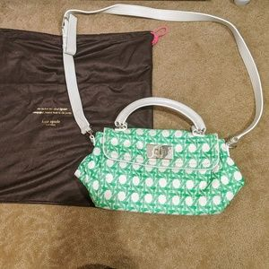 Kate Spade Green and White Retro Shoulder Bag